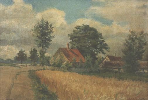Ålekistehusene set mod vest maleri fra 1880