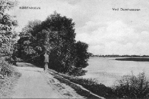 Langs Damhussøenmod Ålekistevej ca. 1909