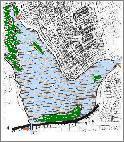 Damhussøen med angivelse af sluser
