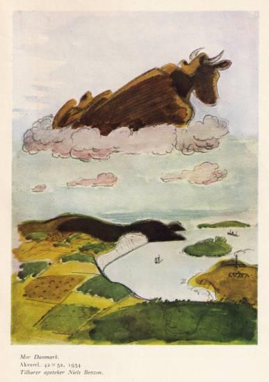 """""""Mor Danmark"""",1934, akvarel i privateje"""